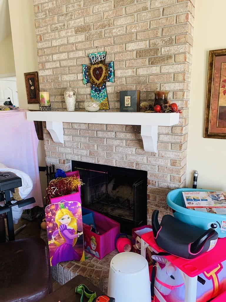 White Brick Chimney and Fireplace