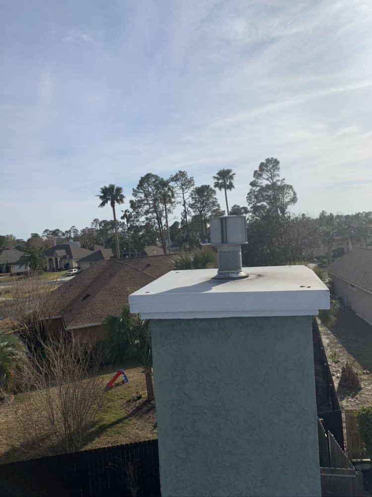 Chimney Top view of crestview job 10/15/2020 Flue pipe cleaning, cresote removal and top replacement