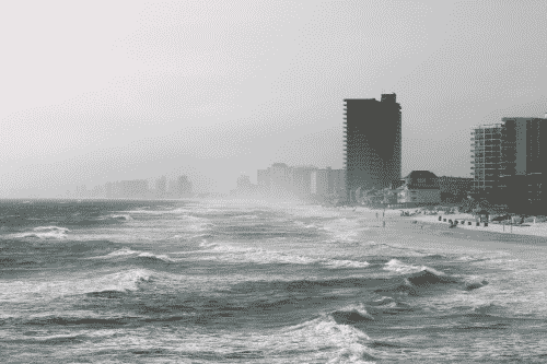 ocean in hurricane season causing rough waves