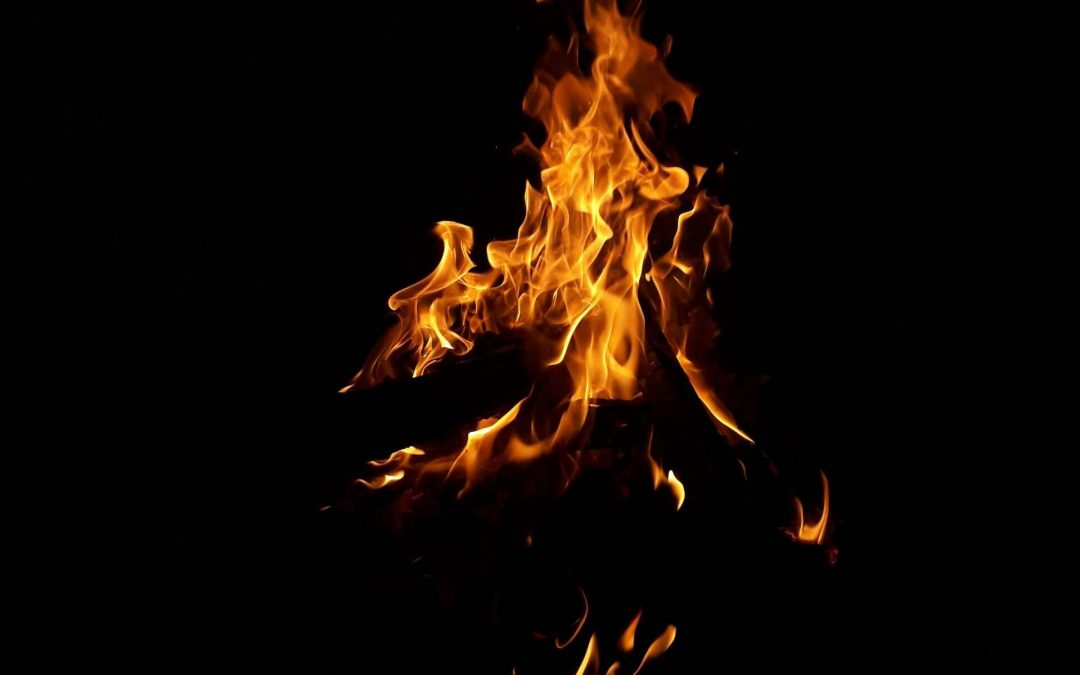 blazing fire in the dark