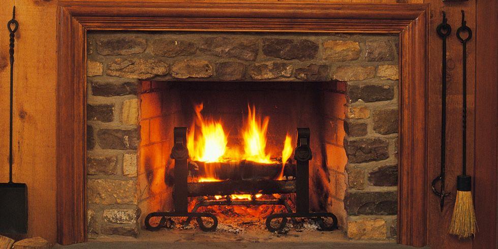 Lit fireplace