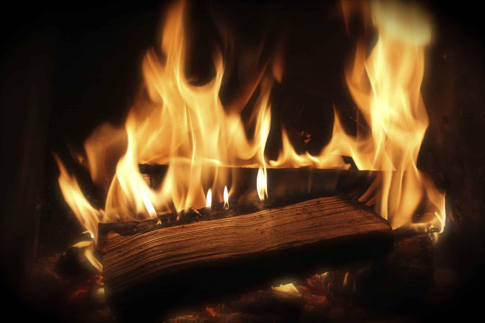 burning log in fireplace